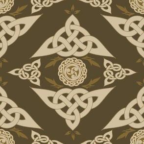 Celtic Triquetra Damask Umber