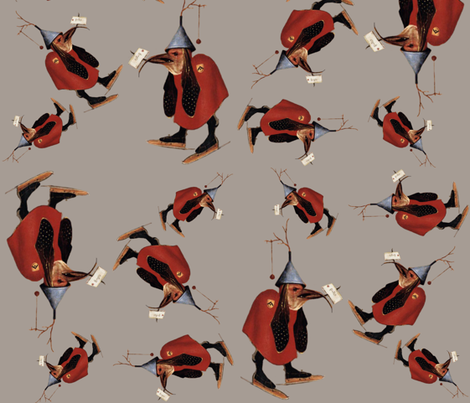Hieronymus Bosch ~The Skating Bird fabric by peacoquettedesigns on Spoonflower - custom fabric