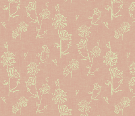 Chicory in Vintage Pink fabric by retrofiedshop on Spoonflower - custom fabric