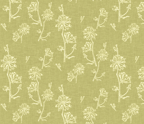 Chicory in Apple Green fabric by retrofiedshop on Spoonflower - custom fabric