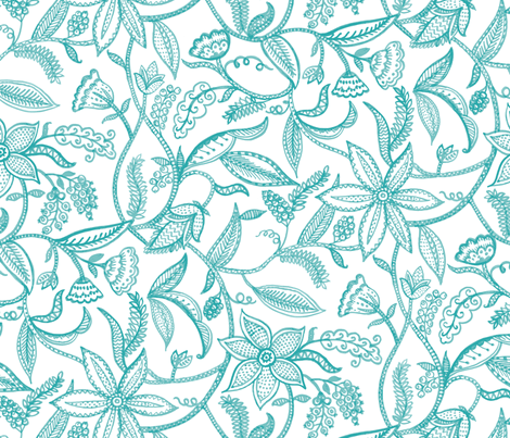 Climbing plants__turquoise fabric by chulabird on Spoonflower - custom fabric