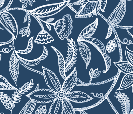 Flowering vines  fabric by chulabird on Spoonflower - custom fabric