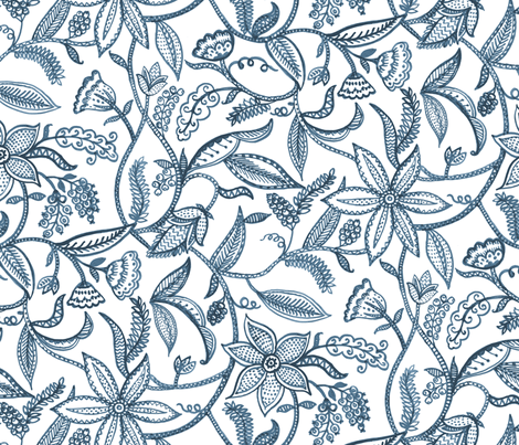 Climbing plants__blue fabric by chulabird on Spoonflower - custom fabric