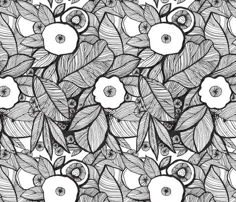 Eyes of the jungles-bw fabric by chulabird on Spoonflower - custom fabric