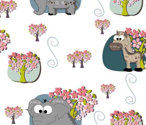 Donkey & Elephant Party fabric by venia on Spoonflower - custom fabric