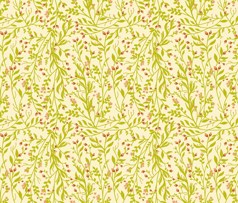 Vintage Floral Vines Grass Rust Muted Peach fabric by thistleandfox on Spoonflower - custom fabric