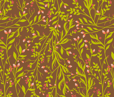 Sage Gold on Chestnut fabric by thistleandfox on Spoonflower - custom fabric