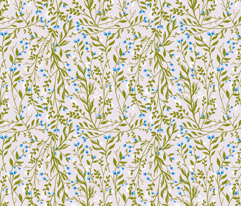 Sage Green Vine, Frost Blossom fabric by thistleandfox on Spoonflower - custom fabric