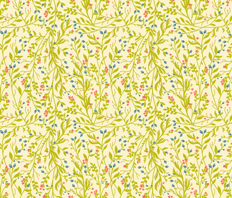 Vintage Floral Vines in Green Coral Blue II fabric by thistleandfox on Spoonflower - custom fabric