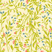Vintage Floral Vines in Green Coral Blue II