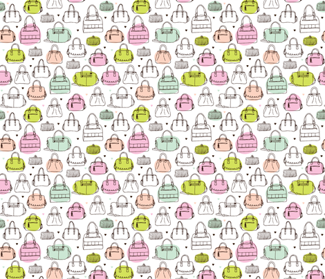 Vintage fashion bags shopper pattern fabric by littlesmilemakers on Spoonflower - custom fabric