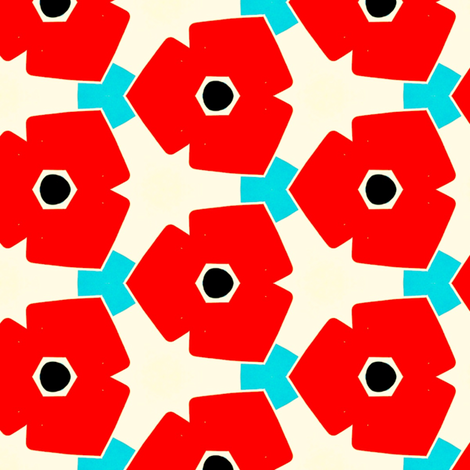 Herweije Retro Flowers fabric by stoflab on Spoonflower - custom fabric