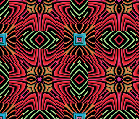 Flowery Incan Tiles 28 fabric by animotaxis on Spoonflower - custom fabric