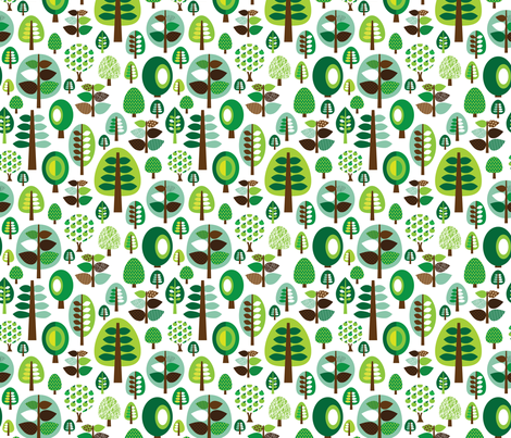 Retro Green Nature Tree Leaf And Forest Pattern
