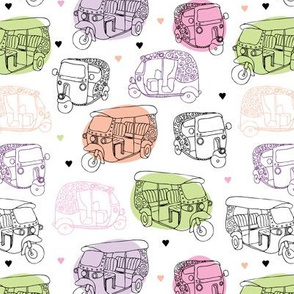 Tuctuc auto rickshaw india travel illustration pattern