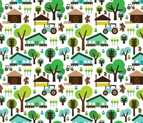 Retro farm animal kids pattern fabric by littlesmilemakers on Spoonflower - custom fabric
