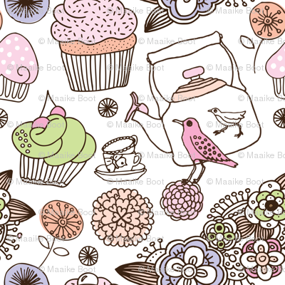 Vintage flower cupcake bird high tea pattern