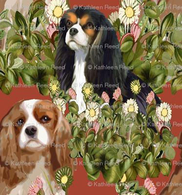 Cavalier Spaniel Garden Fabric