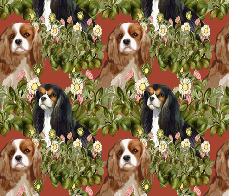 Cavalier Spaniel Garden Fabric fabric by dogdaze_ on Spoonflower - custom fabric
