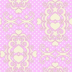 Hearts & Stars Damask - Lavender Cream