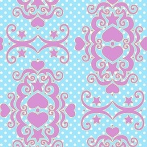 Hearts & Stars Damask - Lilac Blue
