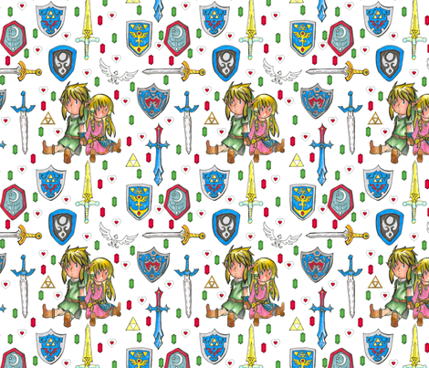 Inspired by Link and Zelda pattern fabric by smart_cats on Spoonflower - custom fabric