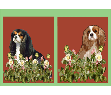 two_cavaliers_yard_flags fabric by dogdaze_ on Spoonflower - custom fabric