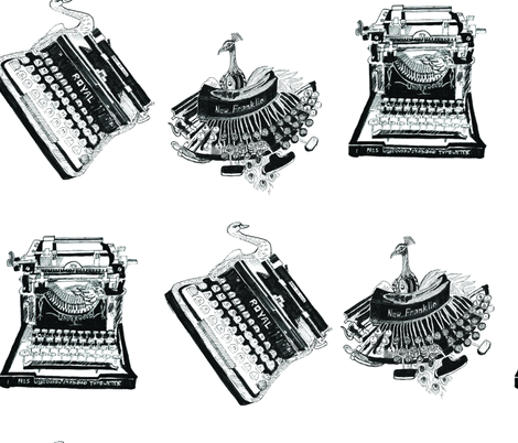 Typewriters & Birds fabric by kanikamathur on Spoonflower - custom fabric