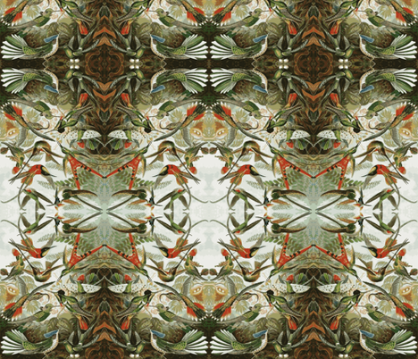 Humming Bird Jungle fabric by flyingfish on Spoonflower - custom fabric