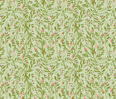 Vintage Floral Vines in Green Coral Blue