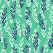 Ferns in White, Ink and Peppermint