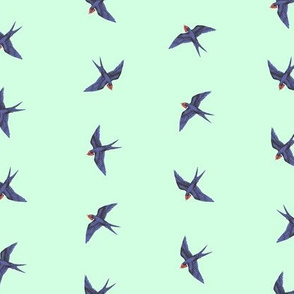 Swooping Swallows on Pale Mint