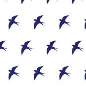 Swooping Swallow Silhouette, Navy on White