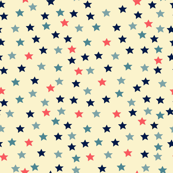 Ditsy Stars Blue and Coral on Cream
