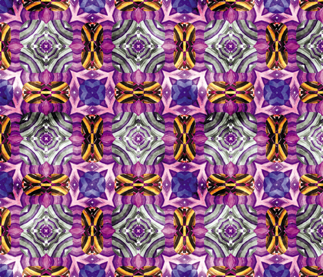 Flowery Incan Mosaics In Watercolors 1 fabric by animotaxis on Spoonflower - custom fabric