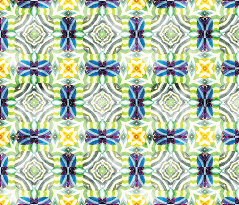 Flowery Incan Mosaics In Watercolors 2 fabric by animotaxis on Spoonflower - custom fabric