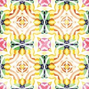 Flowery Incan Mosaics In Watercolors 3