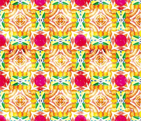 Flowery Incan Mosaics In Watercolors 6 fabric by animotaxis on Spoonflower - custom fabric
