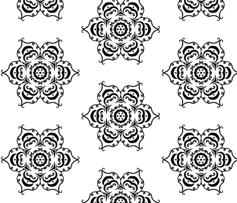 pumpkin flower b&w fabric by ladyleigh on Spoonflower - custom fabric