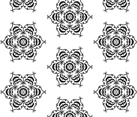 pumpkin flower b&w fabric by ladyleigh on Spoonflower - custom fabric