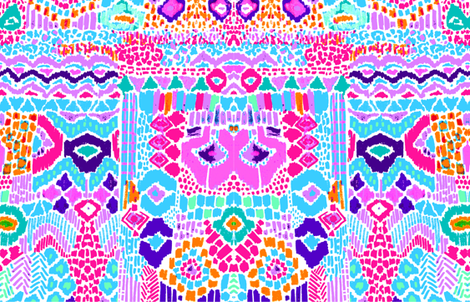 Indian summer IKAT pink blue fabric by katarina on Spoonflower - custom fabric