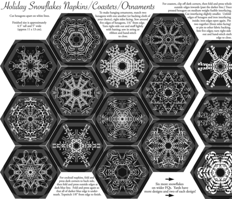 Calligraphic Snowflake napkins (or coasters, or ornaments...) on charcoal fabric by weavingmajor on Spoonflower - custom fabric