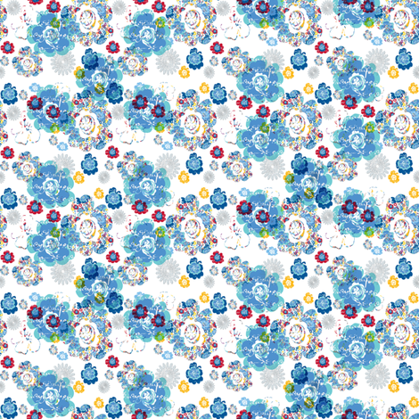 French Script Bouquet Blue fabric by karenharveycox on Spoonflower - custom fabric