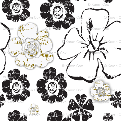 French script floral, black and white and gold II
