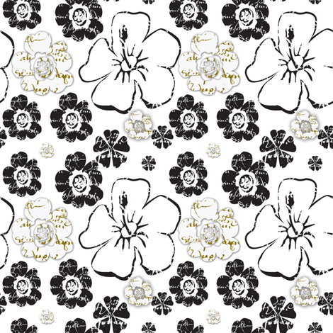 French script floral, black and white and gold II fabric by karenharveycox on Spoonflower - custom fabric