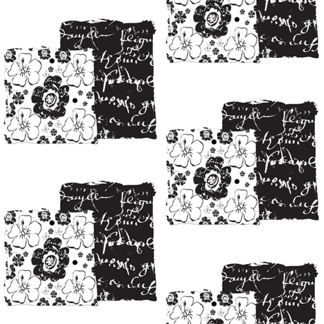 Black_and_white_script_square fabric by karenharveycox on Spoonflower - custom fabric
