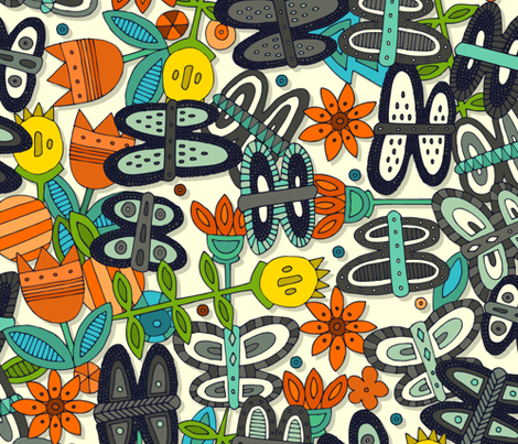 butterfly pop garden orange large fabric by scrummy on Spoonflower - custom fabric