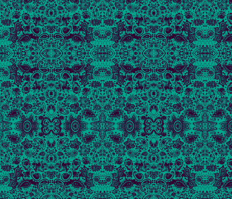 Henna Doodle blue fabric by flyingfish on Spoonflower - custom fabric