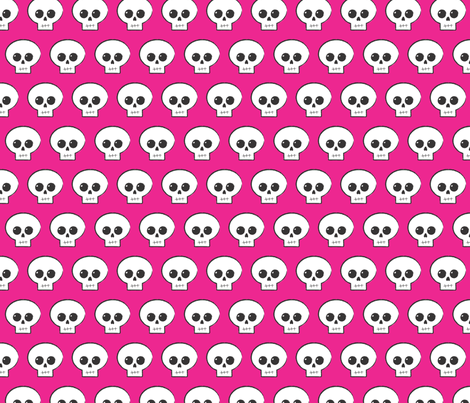 Hot Pink Skully fabric by mickey_guido on Spoonflower - custom fabric