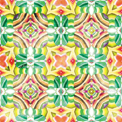 Flowery Incan Mosaics In Watercolors 9